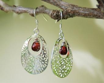 Garnet Sterling silver Hollow flower Earrings Simple Red Wrap Garnet earrings Precious gemstone Dangle drop garnet Earrings