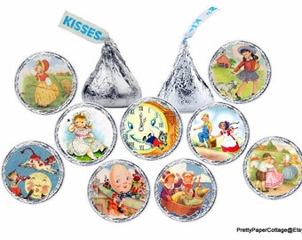 Mother Goose Nursery Rhyme, Candy Stickers, Baby Shower, Birthday, Favors, Hershey Kiss Stickers, Envelope Seals, 108 Stickers