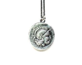 Athena | Goddess of Wisdom - Small silver coin necklace