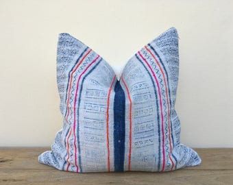 "Vintage Farmhouse hemp  Tribal Indigo Hand Print Patch Work Pillow Case 20"" x 20"" Pieces Of Retro Tribal Costume, Boro ethnic design cushion"