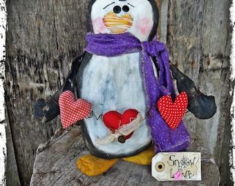 Primitive Penguin Folk Art Doll, Valentine's Day Gift, Winter Home Decor,