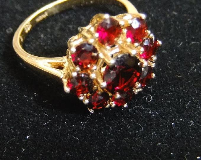 Featured listing image: Vintage Garnet Ring January Birthstone 14kt Gold Ring Vintage January 14kt Gold Garnet Ring