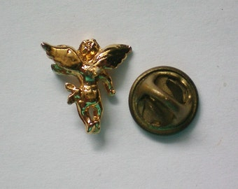 Tiny Gold tone Angel Tie Tack or Lapel Pin - 4102