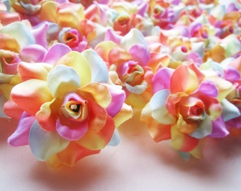 24 Light Rainbow mini Roses Heads - Artificial Silk Flower - 1.75 inches - Wholesale Lot - for Wedding Work, Make Hair clips, headbands