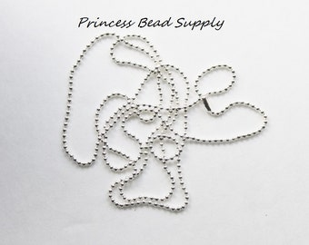 """Set of 10 Silver Ball Chain Necklace 2mm with Connector,  27.6"""" Long Ball Chain Necklace"""