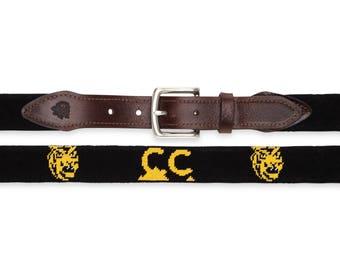 Colorado College Needlepoint Belt / Colorado College / Collegiate Belt / Embroidered College Belts Custom College Belts / Custom Needlepoint