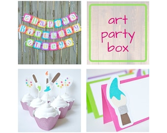 Art party Birthday Package Box with Cupcake Toppers