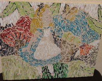 Vintage Alice in Wonderland Style Glass Mosaic/Unframed