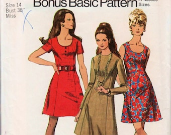 "Princess Seam Dress Pattern 1970s Mini Dress Pattern Scoop Neck Dress SIMPLICITY 8884 bust 36"" Retro Dress Pattern 1970s Dress Pattern"