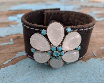 Brooch Leather Cuff