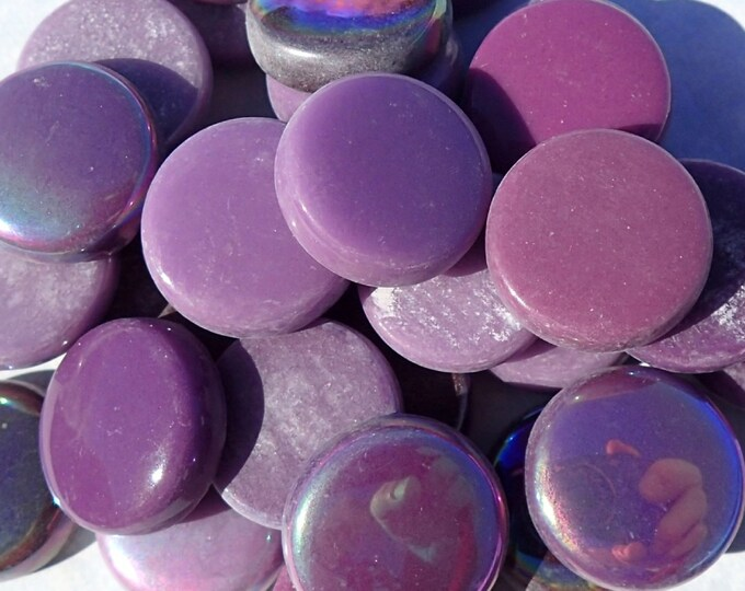 Berry Mix Glass Drops Mosaic Tiles - 100 grams Vase Fillers - 20mm Flat Marbles Mix of Gloss and Iridescent Glass Gems