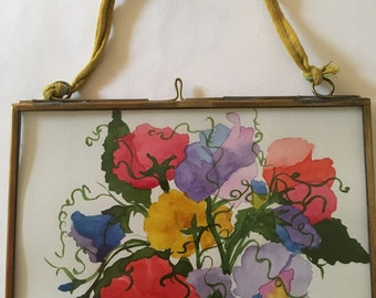 Painting of sweet peas  in an Brass frame