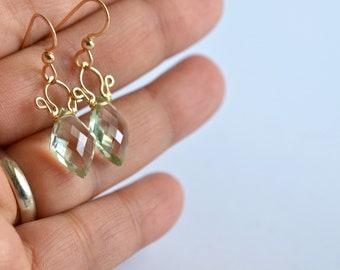 Petite Celine - Prasiolite, 14k Gold Filled Earrings || Prasiolite earrings || Pale green gold dangles || Green dangles