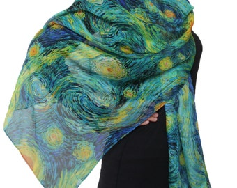 "2016 Newest Coming  Van Gogh's ""Starry Night"" Chiffon Scarf  Blue"