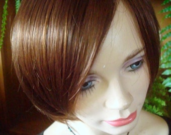 womens wig deep chestnut brown wig chemotherapy alopecia short wig cap wig hat
