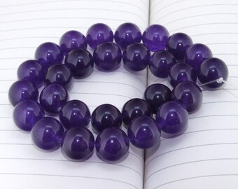 """strand Round Amethyst  Jade Beads ----- 14mm ----- about 28Pieces ----- gemstone beads--- 15"""" in length"""