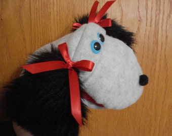 Grey  gray fleece Dog with red satin bows on black ears Hand Puppet