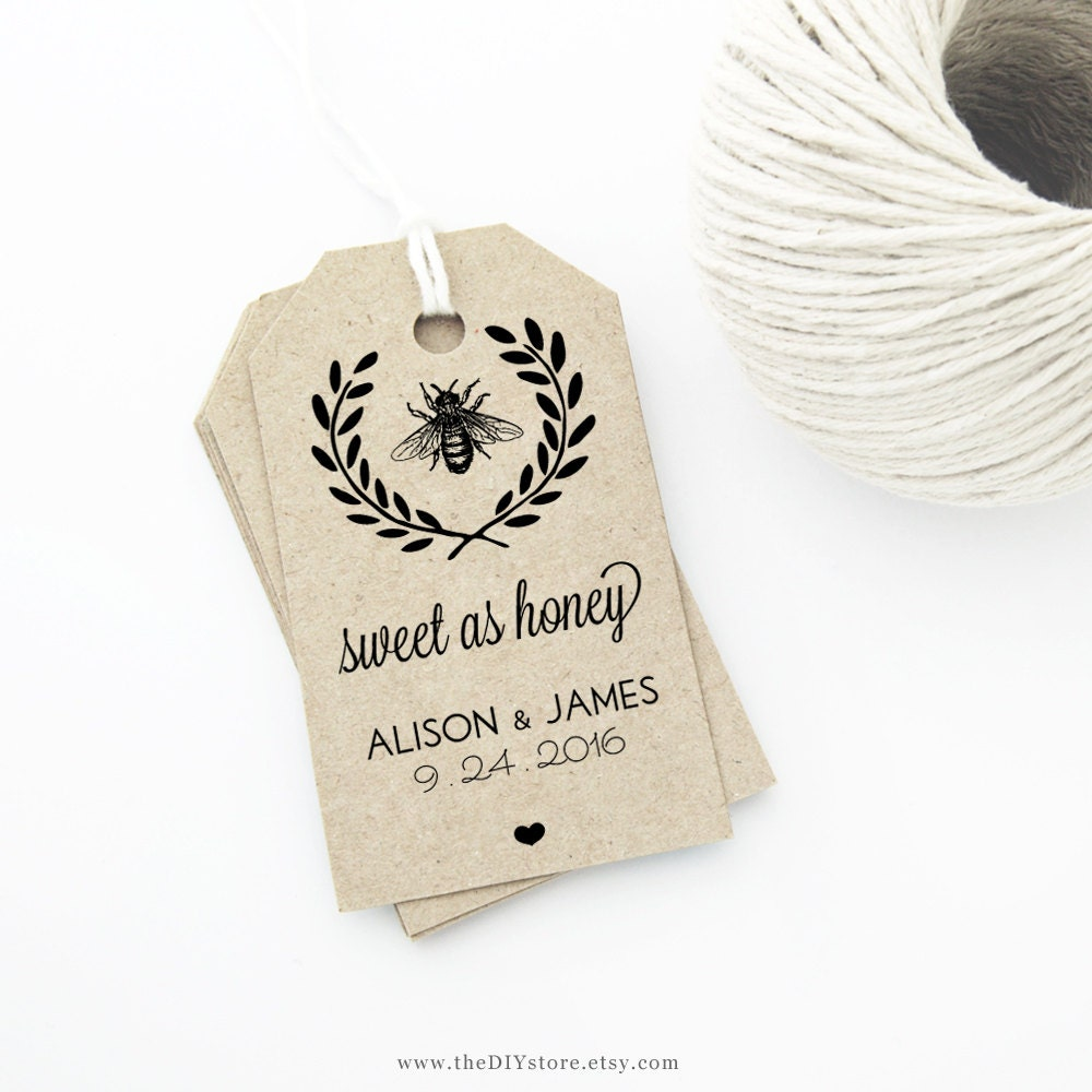 Honey Bee Wedding Favor Tag Template MEDIUM Size