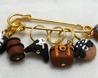 Stitch Markers ARGH MATEY  for Knit or Crochet set of 6 Pirate Treasure Rum Jolly Roger