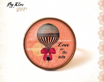 Ring Cabochon • Love is the air • hot air balloon bow pink black glass