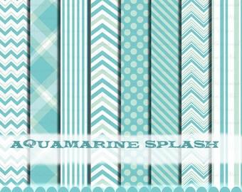 Blue chevron clip art frame scrapbooking digital papers Aqua, clipart aqua Aqua blue baby digital paper boy : p0218 3s2122 IP