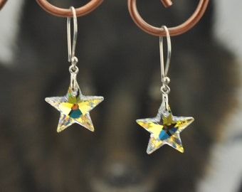 Swarovski Crystal Stars .925 Silver Earrings