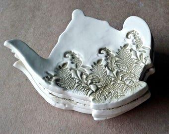 Four Ceramic Fern Teapot Tea bag Holders  spoon rest Sage Green teabag holder