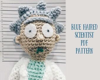 Blue Haired Scientist Amigurumi Crochet Pattern - Look alike Rick with His Sidekick Morty