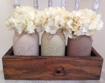 Mason Jar Decorative Tray's, Centerpieces, Wedding Decor, Housewarming