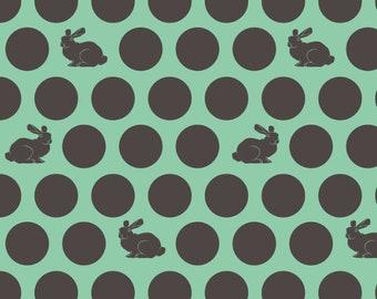 "Tula Pink Fabric. Foxfield. Hoppy Dot. Shade Green. (18"" x 22""). OOP"