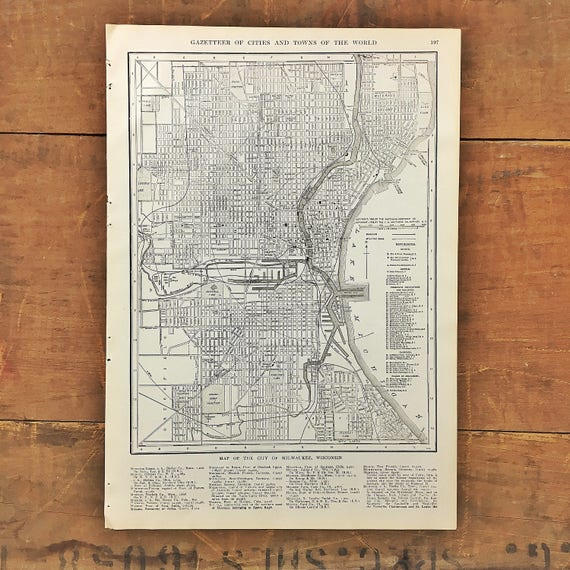Vintage Milwaukee Wisconsin Map Original Atlas Page - Vintage milwaukee map