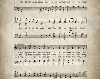 Go Tell It On The Mountain Hymn Print - Sheet Music Art - Hymn Art - Hymnal Sheet - Home Decor - Music Sheet - Print - #HYMN-P-044