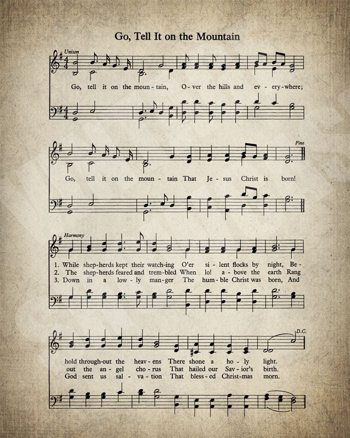Lyric crystal mountain lyrics : Go Tell It On The Mountain Hymn Lyrics Sheet Music Art