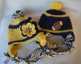 Crocheted Vikings Football Team Colors Girl or Boy Hat/Beanie - Made to Order