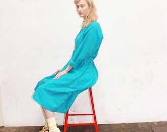 80s BLUE Shirt Dress full skirt midi dress shirtwaist dress MEDIUM MED m
