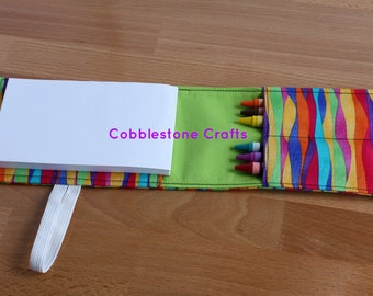 Crayon Notepad Holder Small - Multi w/ Green - Toddler Coloring, Kids Art Supplies, Crayon Holder, Crayon Notebook, Stocking Stuffer