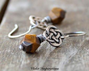 Tiger Eye Earrings / Sterling Silver Earrings / Celtic Earrings / Wire Wrapped Jewelry / Tiger's Eye / Wire Wrapped Earrings