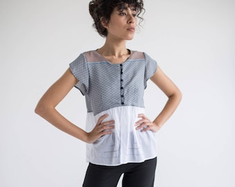 Womens Summer Tops, Peplum Tops, Loose Blouse, Flowy Tops, Womens Blue Tops, Unique Top, Handmade Tops, Vacation Clothes, Blouses For Work