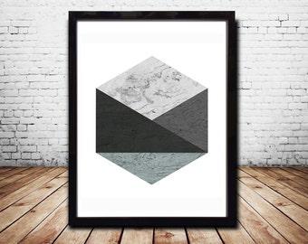 Hexagon Wall Art Prints Abstract Prints Abstract Poster Geometric Wall Art