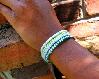 Ombre Green and White Friendship Bracelet Set - Set of 4 Friendship Bracelets