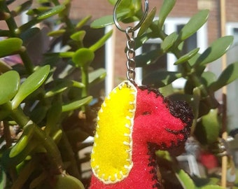 Felt Sparkly Red & Yellow Dog