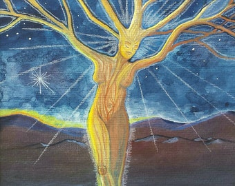 Tree of life: Goddess Tree, Tree spirit, Fairy, Sprite, Nymph, Tree Woman, High Resolution Print of a watercolor Dryad at sunrise