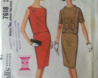 7618 authentique vintage motif imprimé de McCall de 1964 - pour jeune femme et junior deux pièces robe - buste taille 9 30 1/2