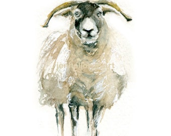 Watercolor Sheep, Sheep Print, Sheep Art, Farm Animal Art,Painting of Sheep, Farm Animal Print