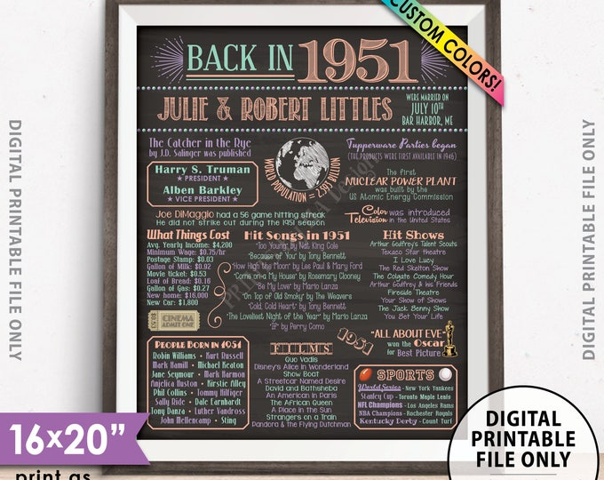 "67th Anniversary Poster, Flashback to 1951 Anniversary Party Decor, Married in 1951, Custom Chalkboard Style PRINTABLE 8x10/16x20"" 1951 Sign"