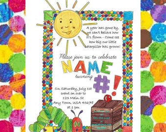 Eric carle invitations etsy very hungry caterpillar birthday invitation hungry caterpillar birthday invitation hungry caterpillar birthday party filmwisefo Choice Image