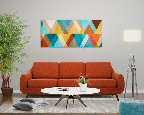 "Best Selling Items in Mid Century Painting Canvas Print Retro Mid Century Modern Art Teal Wall Art Small - Extra Large Wall Art ""Juxtaposed"""