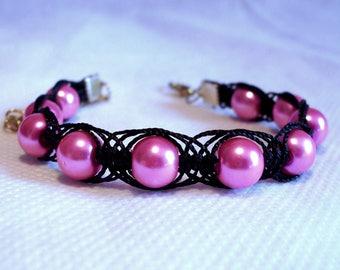 Pink black pearls, 3 strands braided macrame bracelet