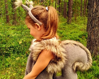 Squirrel girl costume dress headband tail/ Kids squirrel Costume/squirrel dress up/ handmade costume / Halloween costume