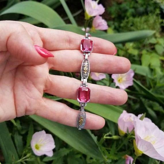 Vintage Art Deco 10k white and multi color gold pink spinel filigree bracelet